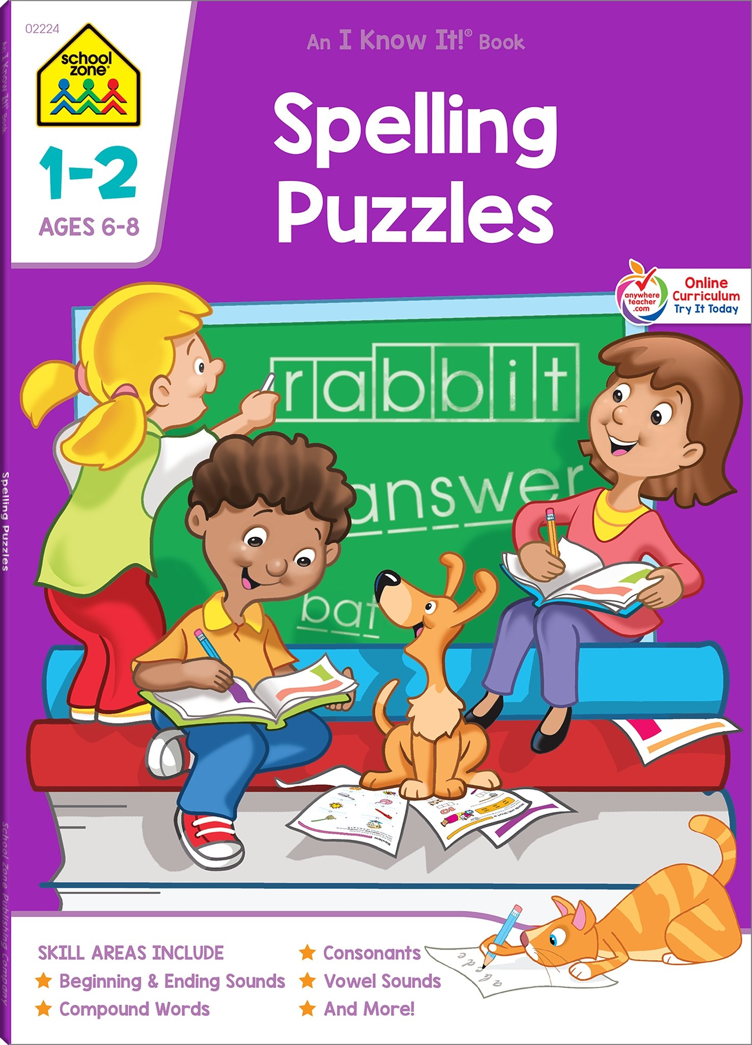 Download School Zone - Spelling Puzzles 1-2 Deluxe Edition Workbook, Ages 6 to 8, Word-Picture Recognition, Beginning Sounds, Ending Sounds, and More (School Zone's I Know It!) PDF