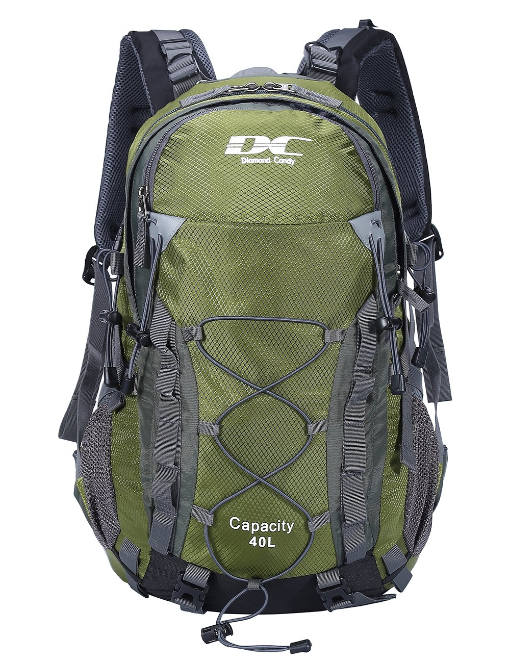 450514af7b Amazon.com   Diamond Candy Waterproof Hiking Backpack 40L with Rain Cover  for Outdoor Army Green   Sports   Outdoors