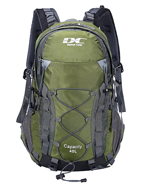 1d9157685e Diamond Candy Waterproof Hiking Backpack 40L with Rain Cover for Outdoor  Army Green