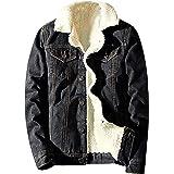 Springrain Men's Winter Sherpa Lined Denim Jacket Windbreaker Trucker Jacket