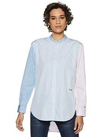 2ce4d8bd6 TOMMY HILFIGER Women's Striped Regular fit Shirt (P9AWW1682_Banker STP/  Multi_2)