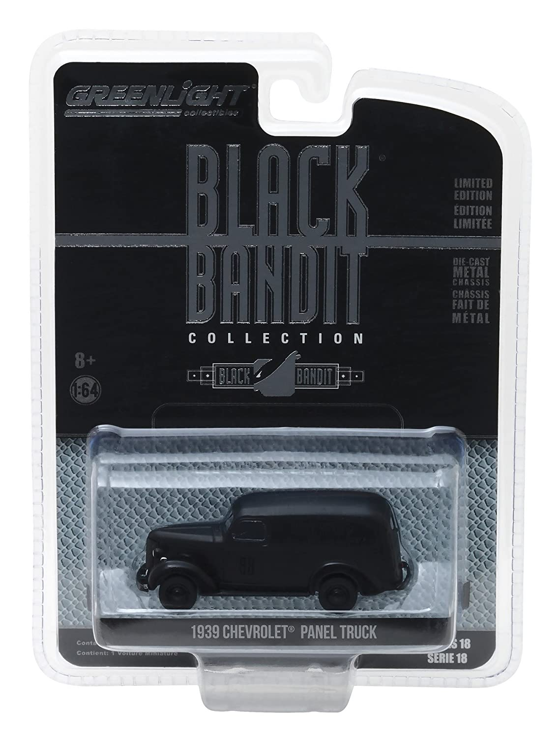 1939 Chevrolet Panel Van Black Bandit 1 64 Diecast Model Car by Greenlight 27930 F
