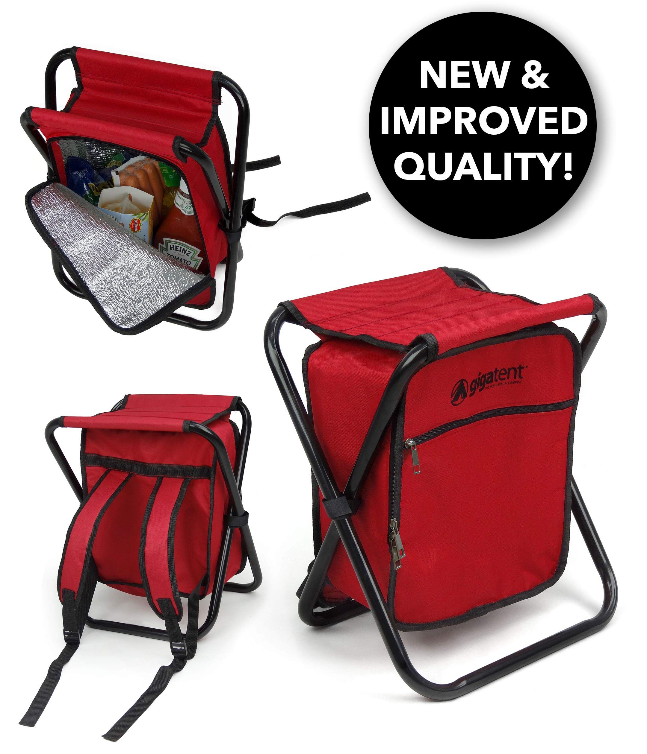 Folding Cooler and Stool Backpack - Multifunction Red Collapsible Camping Seat and Insulated Ice Bag with Padded Shoulder Straps - by GigaTent