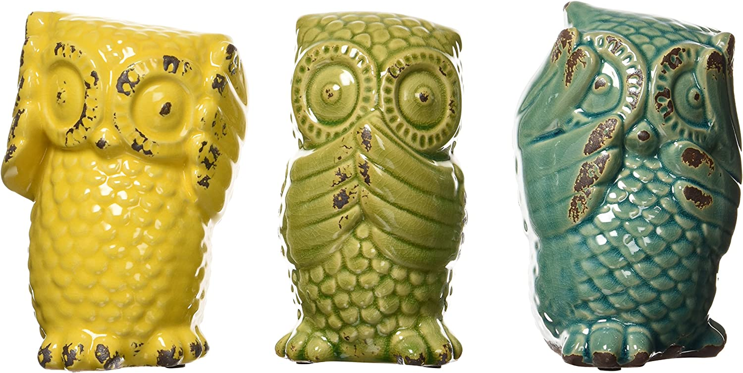 Imax 69230-3 Wise Owls – Set of 3 Ceramic Statuaries, Handcrafted Decor Accessories, Vintage-Inspired Showpieces. Home Decor