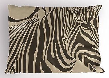 Zebra Print almohada Sham por lunarable, Zebra silueta estampado africano caballo monocromo Zoo Safari criatura