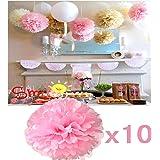 JZK® 10 x Rosa pompon carta velina festoni fiori 20 cm, decorazioni festa matrimonio compleanno battesimo comunione nascita laurea Natale Halloween pom poms pon pon