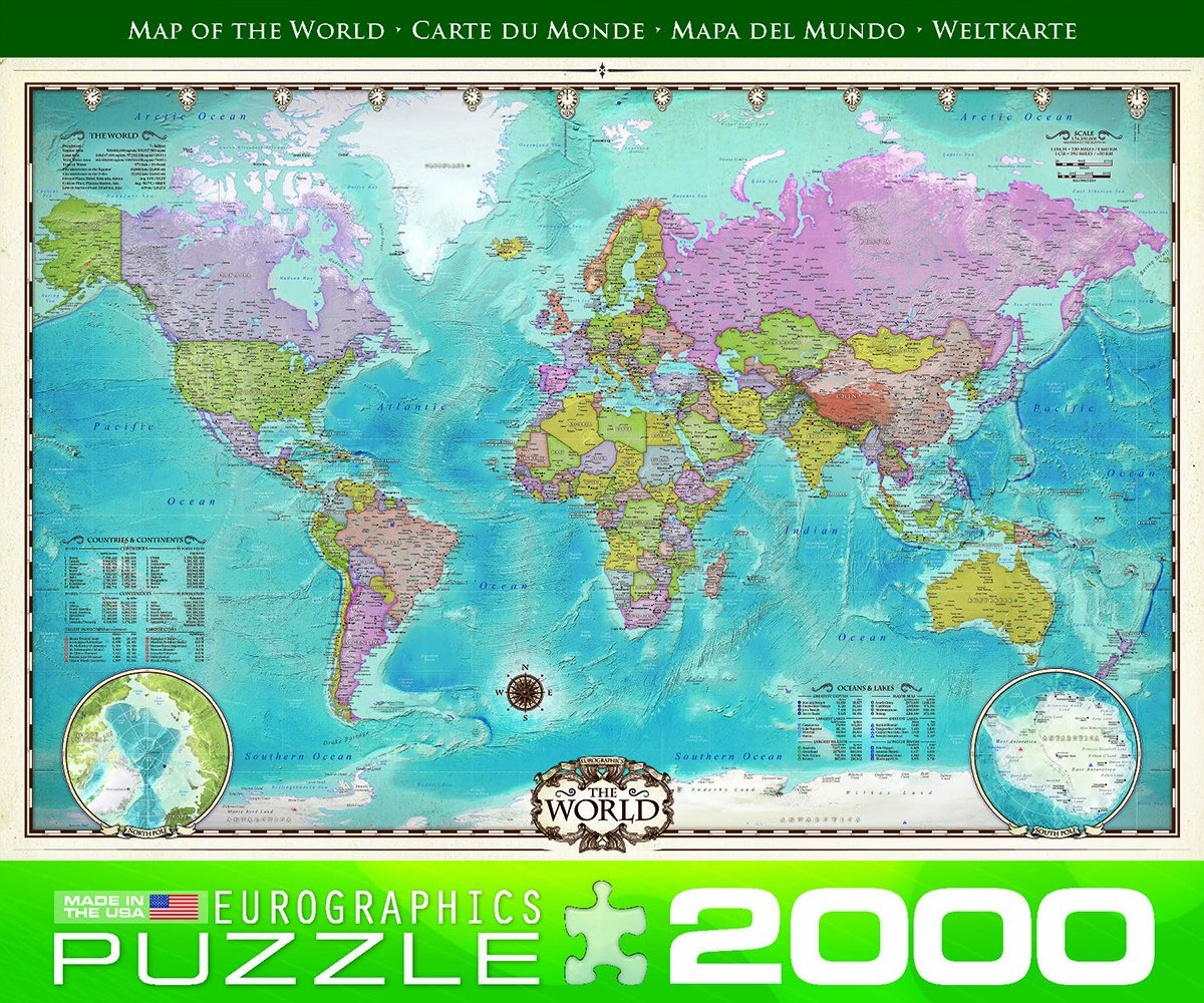 amazoncom eurographics map of the world puzzle 2000 piece toys games