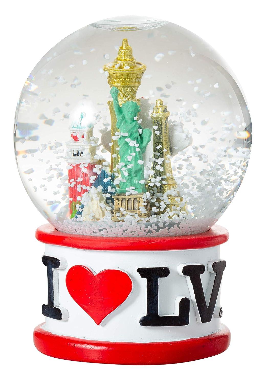 Black Artisan Owl I Love Las Vegas Strip City Skyline Souvenir Water Snow Globe