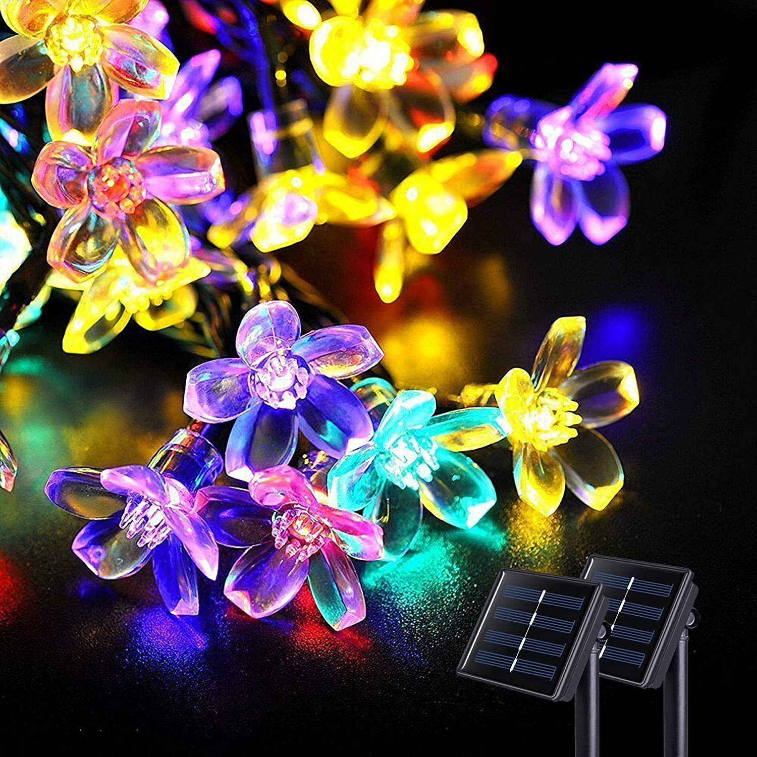 JMEXSUSS Solar Flower String Lights, 2 Pack 30.6FT 50LED Cherry Blossoms String Lights Outdoor Waterproof, Solar Fairy Light for Garden Decorations,Yard,Lawn,Tree,Holiday,Party,Spring