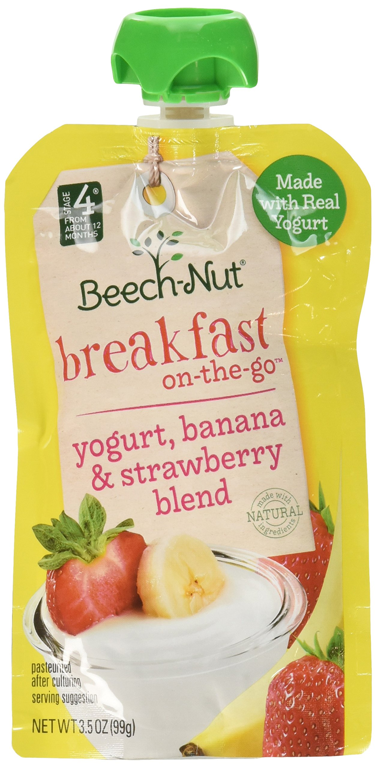 Beech-Nut Breakfast On-the-Go, Baby Food, Stage 4, Yogurt, Banana & Strawberry, 3.5 Ounce Pouch (Pack of 12) by Beech-Nut