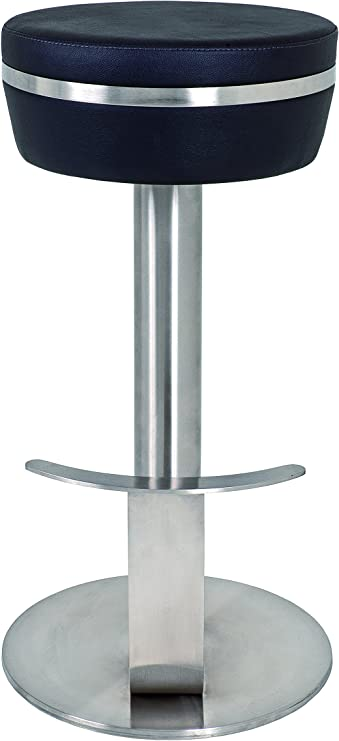 colore: Metallo cromato//bianco Sgabello con struttura in acciaio e rivestimento in similpelle Haku M/öbel 30388 40 x 40 x 42 cm