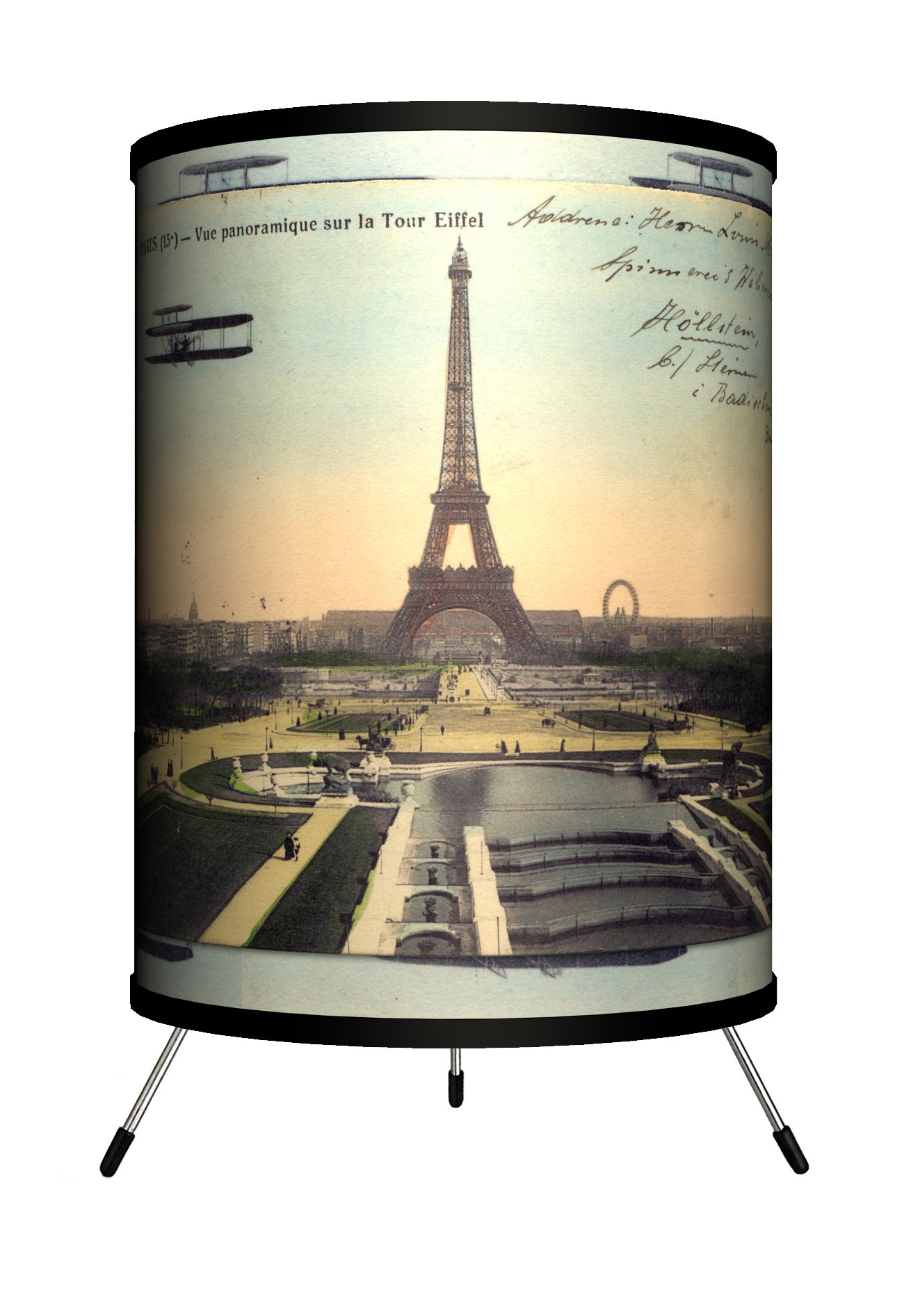 Lamp-In-A-Box TRI-TRV-PARPC Travel - Paris Eiffel Tower Postcard Tripod Lamp