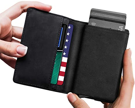 291f3468c61 Leather RFID Minimalist Wallet - Wallets for Men with Slim Pop-up ...