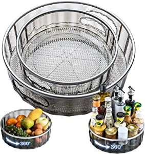 [Early Bird Coupon] IAXSEE 2 Sizes Lazy Susan Turntable Spinning Spice Rack Organizers Multifunctional Round Clear Rotating Food Storage Cosmetic Containers, for Countertop Pantry Fridge(Gray)
