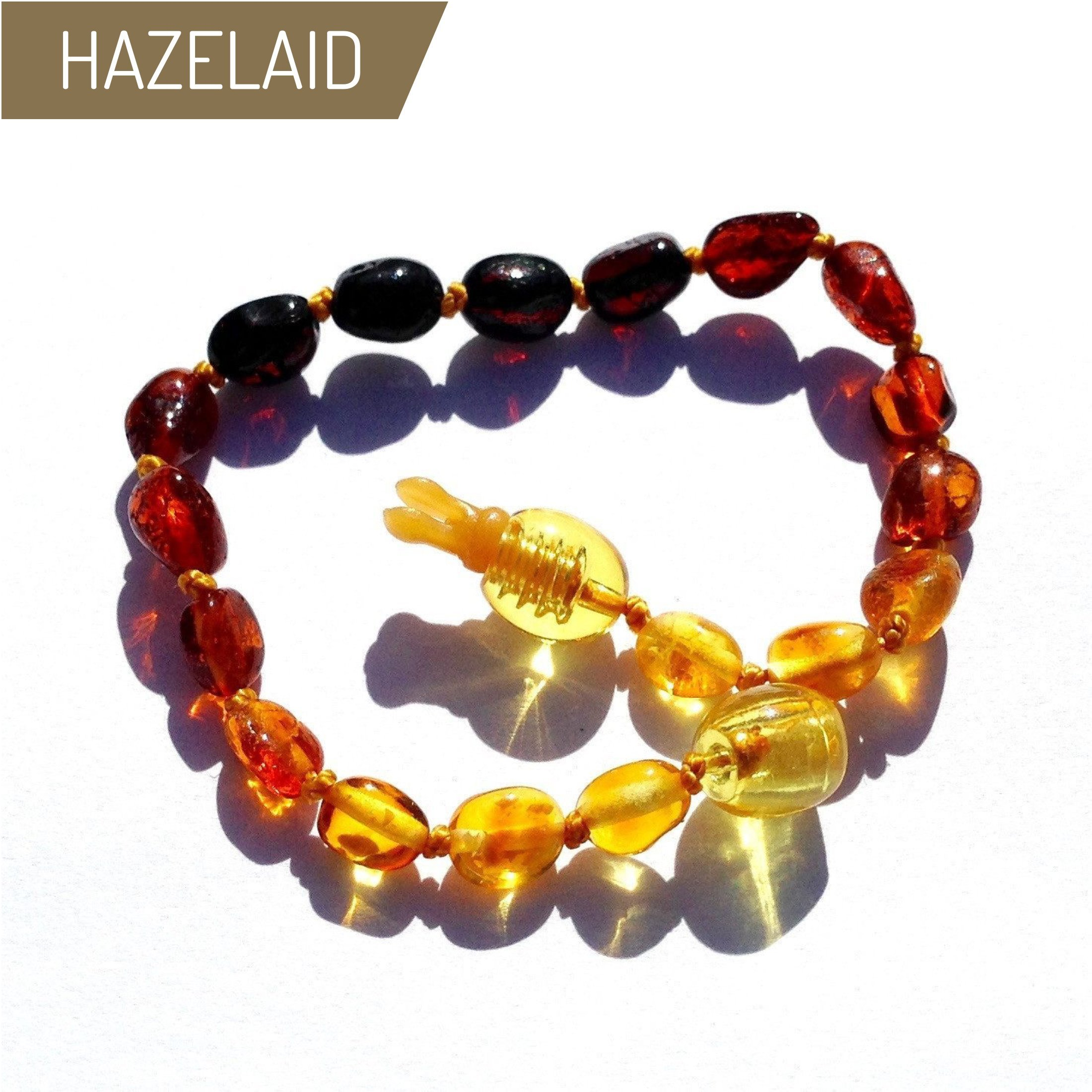 Hazelaid (TM) 5.5'' Pop-Clasp Baltic Amber Rainbow Bean Bracelet