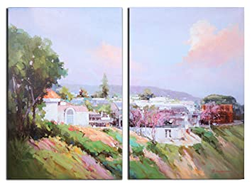 Arari Fine Art Giclee Prints on Canvas Oil Painted Printing / Hand Enhanced  Giclee / Art Work For Wall Décor 2pcs/set (24x36/2pcs) - Laguna beach