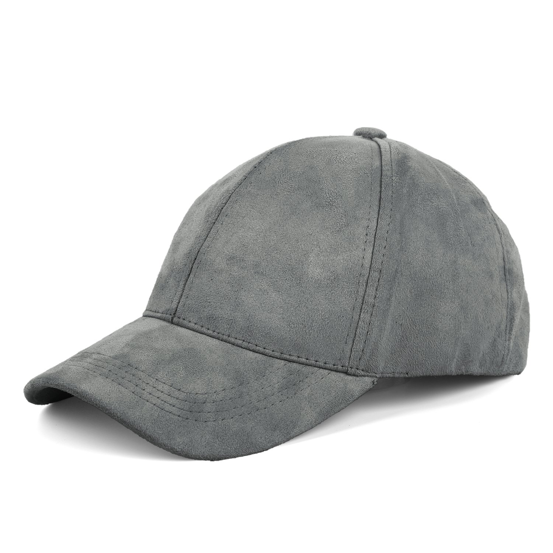 0ea7f624adb JOOWEN Unisex 6 Panels Faux Suede Baseball Cap Solid Adjustable Sports  Visor Hat (Ash Grey)  Amazon.co.uk  Clothing