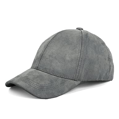 JOOWEN Unisex 6 Panels Faux Suede Baseball Cap Solid Adjustable Sports  Visor Hat (Ash Grey 4977cc26042