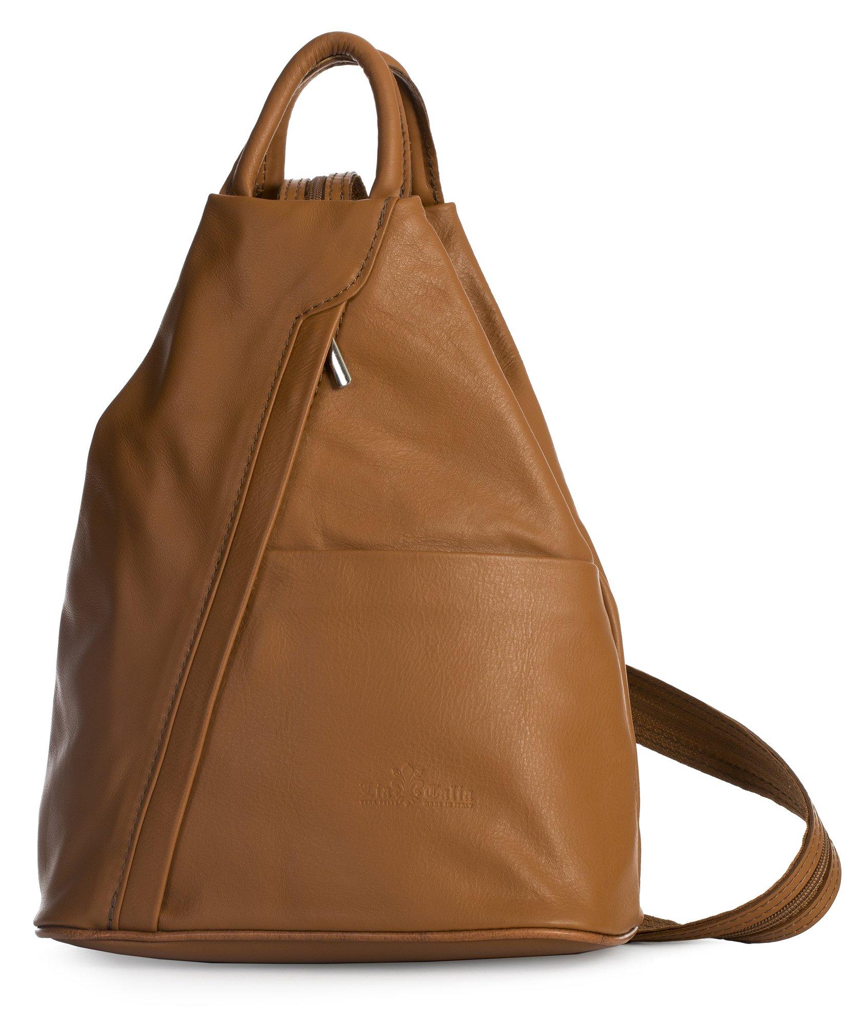 LiaTalia Unisex Soft Italian Leather Convertible Strap Small Backpack Rucksack Duffle Bag - Alex [Medium Tan]