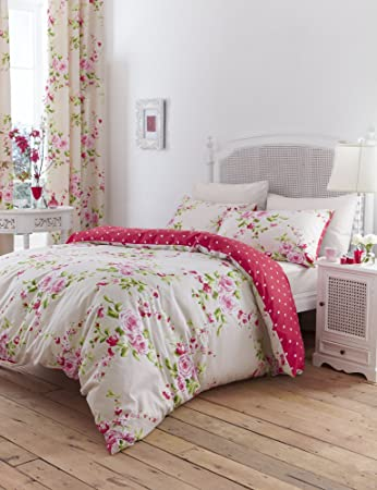 Canterbury Floral Red u0026 Cream King Duvet Cover Bedding Set