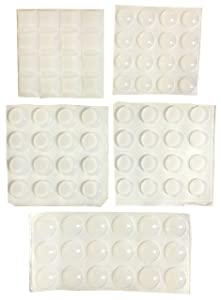 Transparent Adhesive Bumper Pads 82-Piece Combo Pack (Round, Spherical, Square) - Noise Dampening Clear Rubber Feet for Cabinets, Doors, Drawers, Cupboards, Picture Frames, Cutting Boards Self Stick