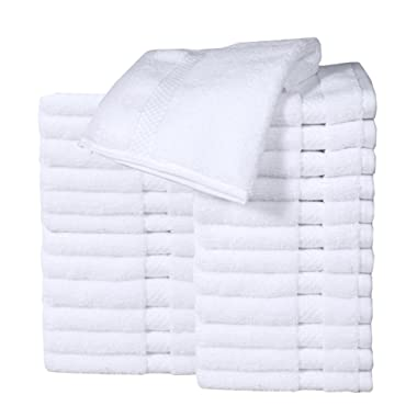 HomeLabels Cotton Washcloth Towel Set (24 Pack, White, 12 x12 ) Multi-purpose rags, Soft Fingertip towels, Absorbent Face Cloths, Machine Washable Sport, and Workout Towels