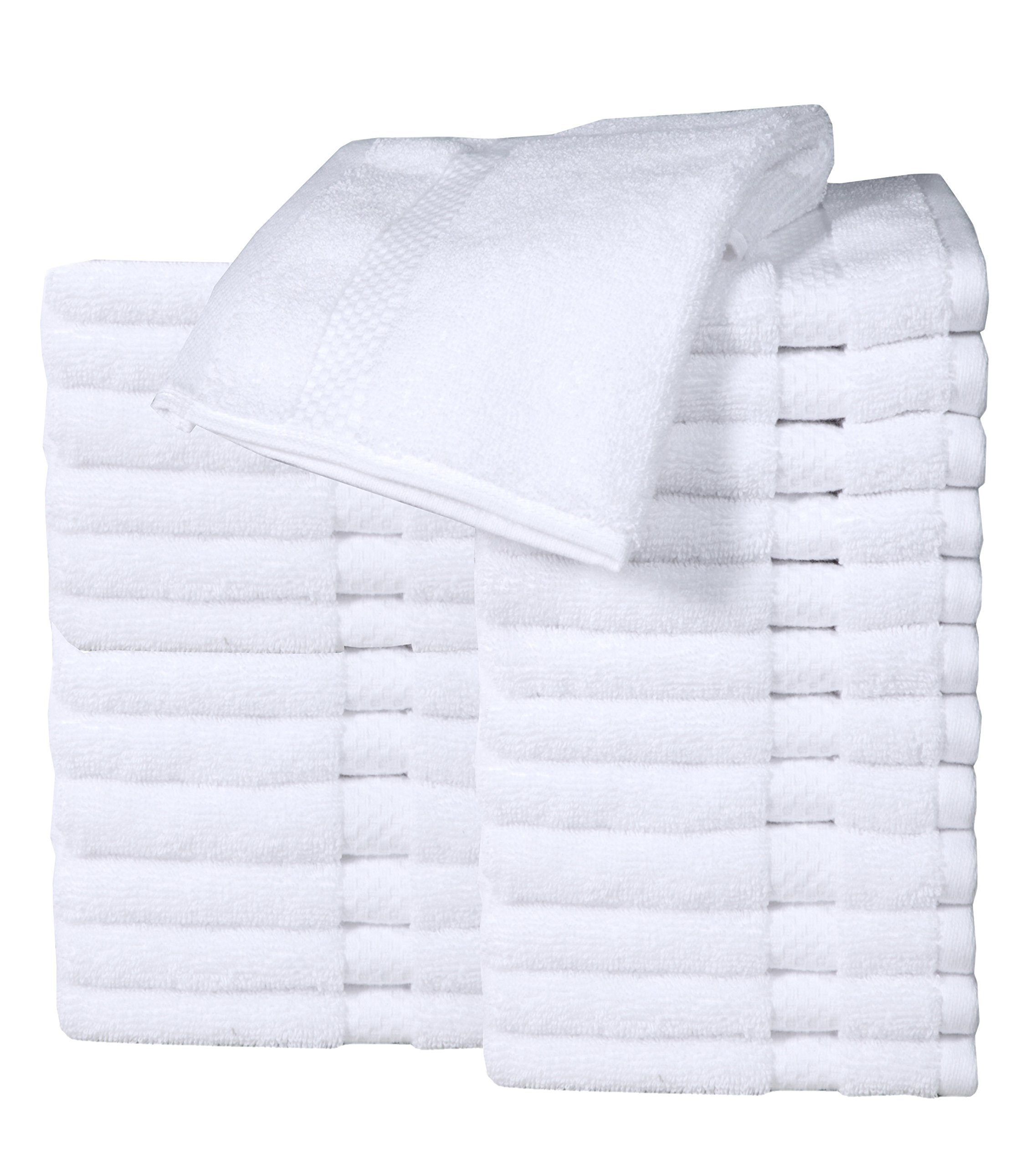 HomeLabels Luxury Cotton Washcloth Towel Set (24 Pack, White, 13''x13'') Zero Twist, Multi-purpose Extra Soft Fingertip towels, Highly Absorbent Face Cloths, Machine Washable Sport, and Workout Towels by HomeLabels