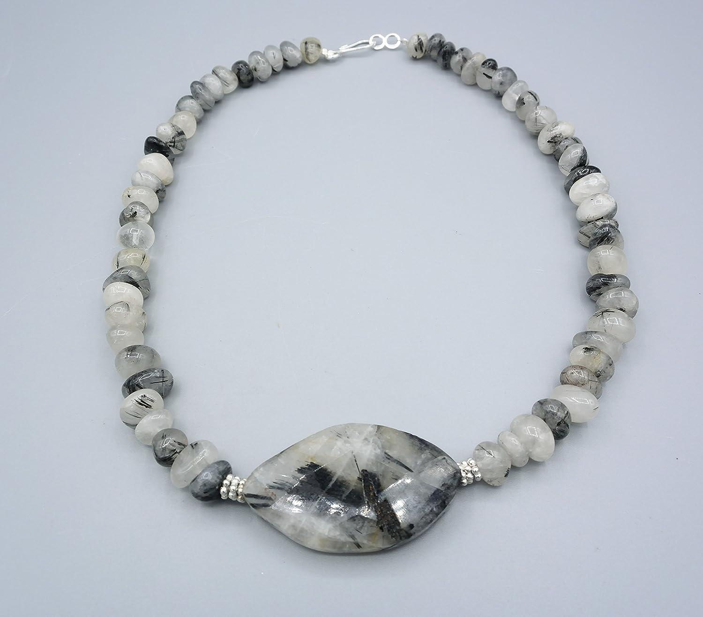 9130072c2480e1 Turmalin Quarz Kette - schwarz weiß - Damen Kette - Beads-in-Fashion   Amazon.de  Handmade