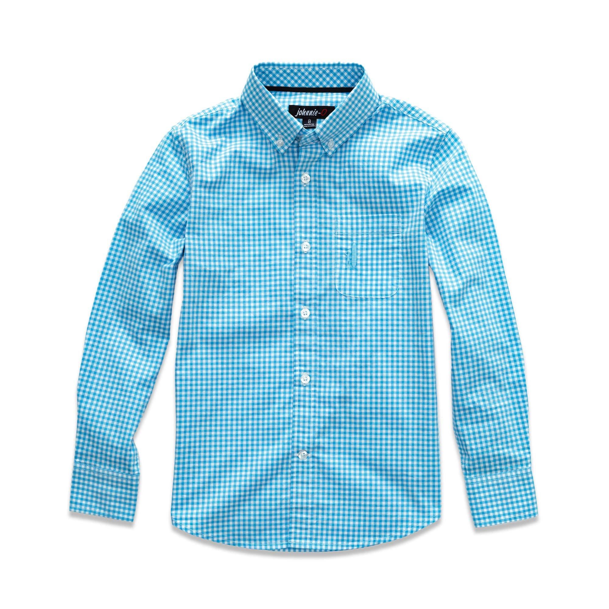 johnnie-O Boy's Berner Button-Down Shirt, Blue Mist, 10