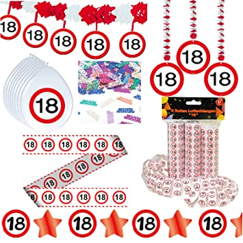 Deko Set 42 Tlg 18 Geburtstag Party Box Dekoration Glitter Girlande