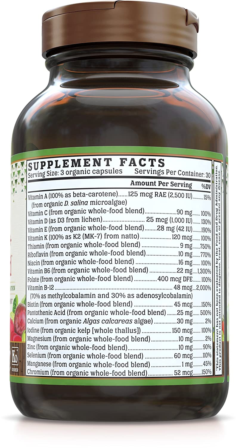 Amazon.com: NUTRIGOLD Mens 40+ MULTIVITAMIN 90cap (Organic, nonGMO, wholefood Vitamins and Minerals from Real Fruits, Vegetables, and Herbs.