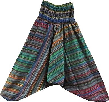 Pantalones bombachos multicolores rayas algodón estilo Aladín ...
