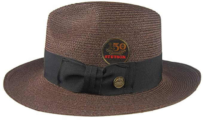 Stetson Temple Brown Hemp Straw Fedora Size 7 1 8 R Oval 2 1 2