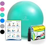 Exercise Ball - Professional Grade Anti-Burst Fitness, Balance Ball Pilates, Yoga, Birthing, Stability Gym Workout Training Physical Therapy