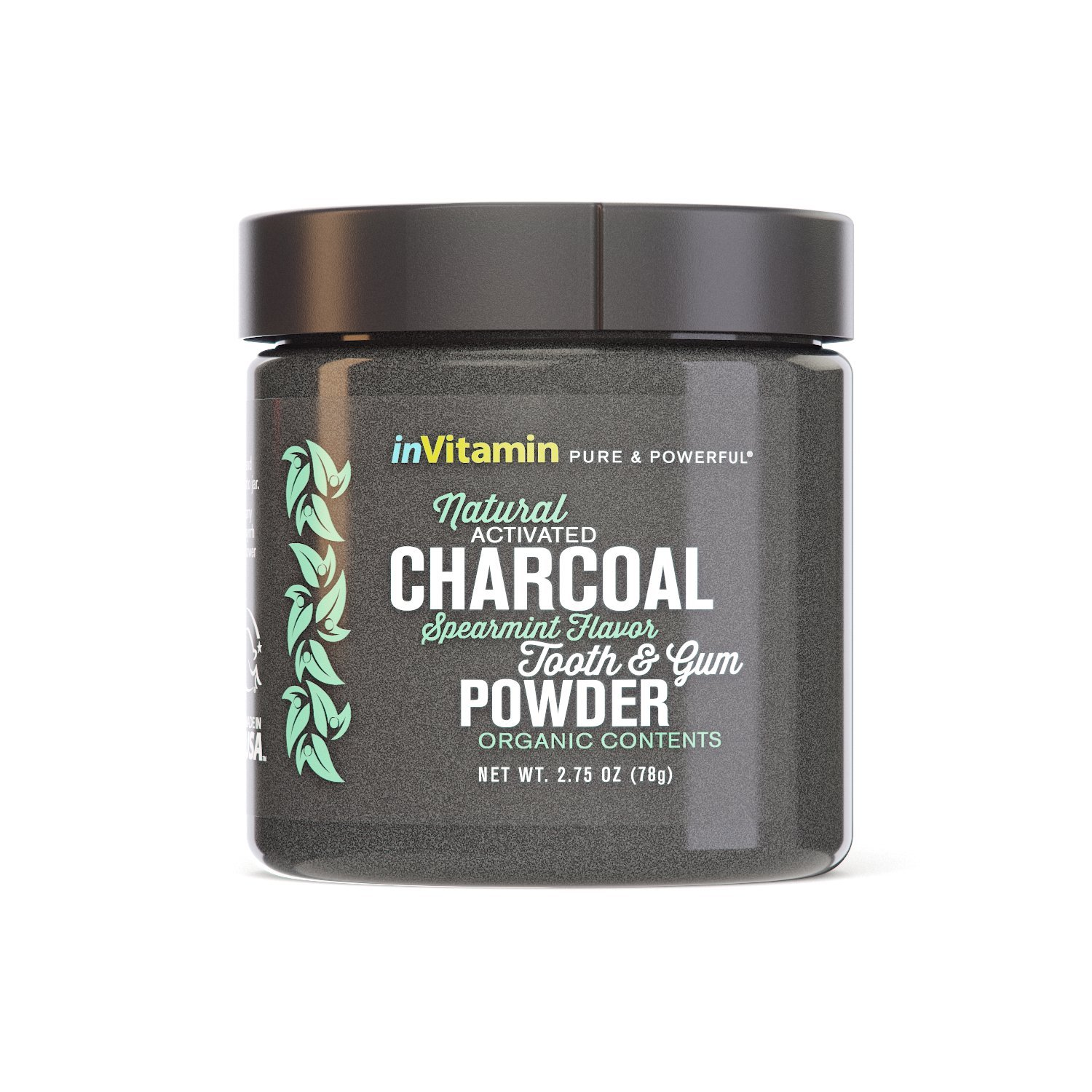 InVitamin Natural Whitening Activated Charcoal Powder for Teeth and Gums (Spearmint)