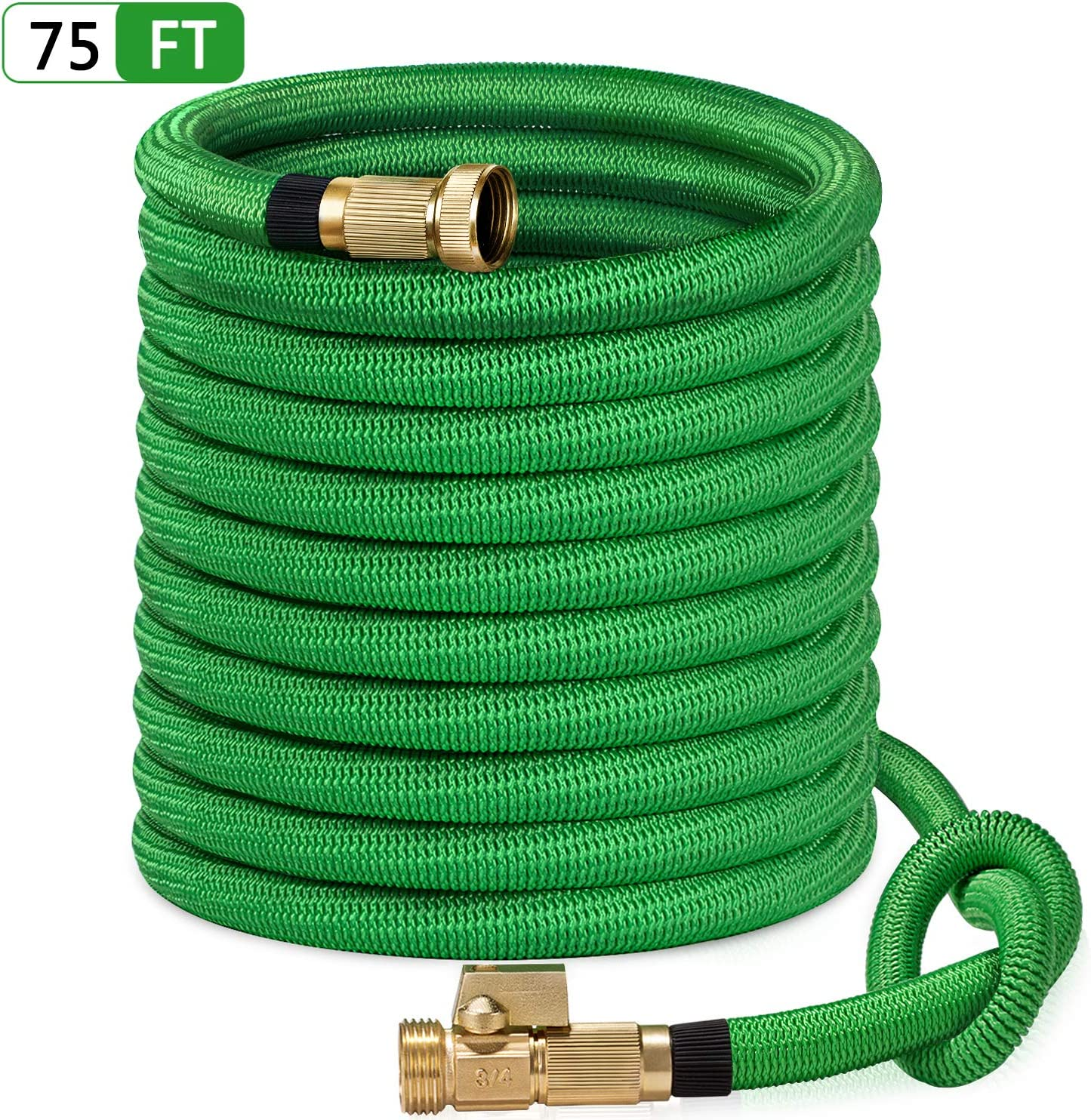 "SunGreen 75ft Garden Hose, All New 2019 Expandable Water Hose with 3/4"" Solid Brass Fittings, Extra Strength Fabric - Flexible Expanding Hose with Free Storage Sack"