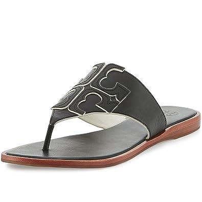 6c7601984 ... new zealand tory burch jamie flat thong sandal veg leather 7.5 black  ivory 1fe99 7bdcf