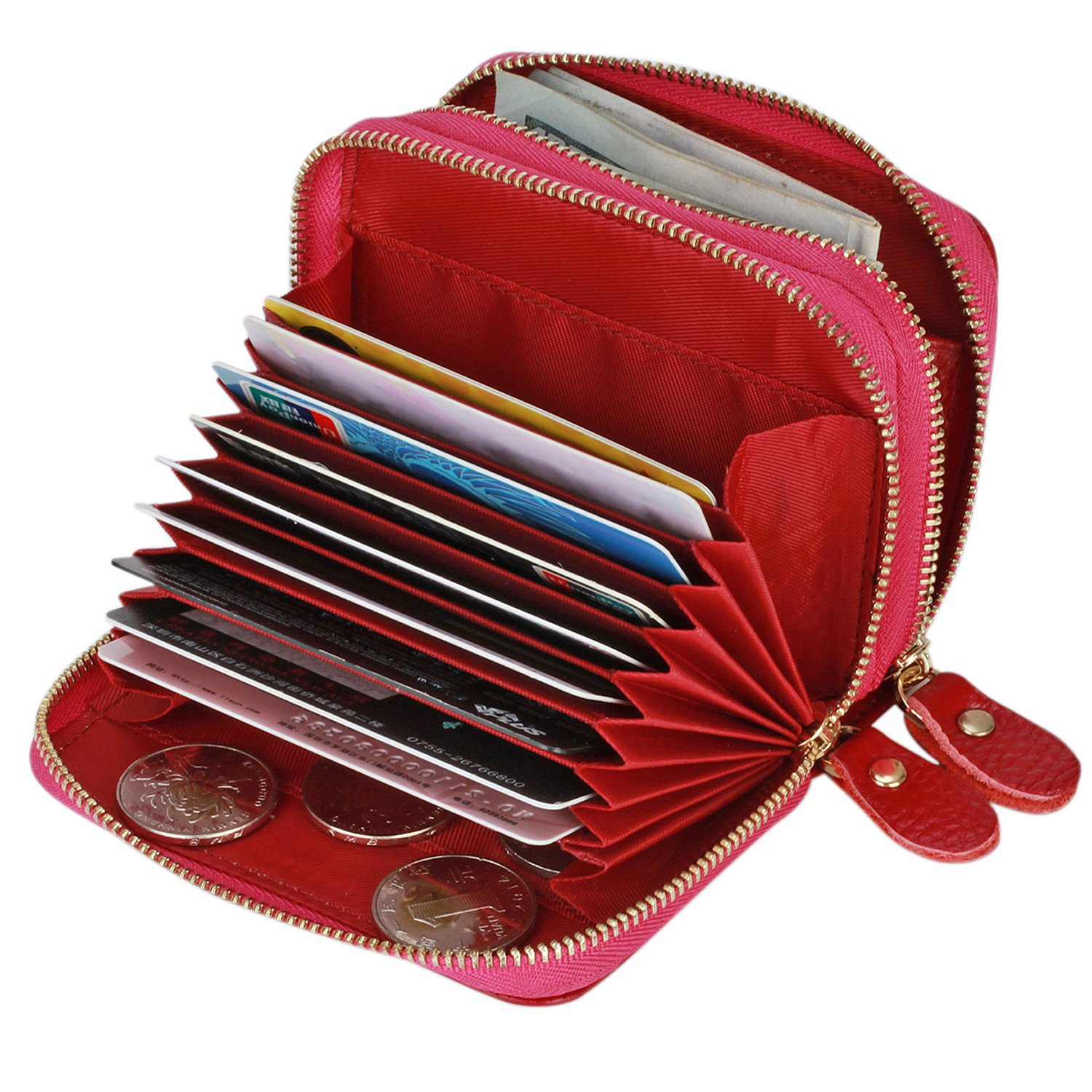 Accordion Wallet RFID Leather Card Wallet for Women Credit Card Holder