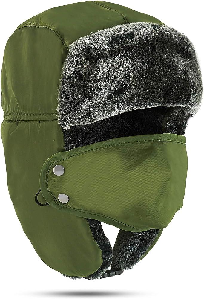 Mens Winter Russian Aviator Hat Trooper Ear Flap Snow Ski Wind Proof Ushanka Cap
