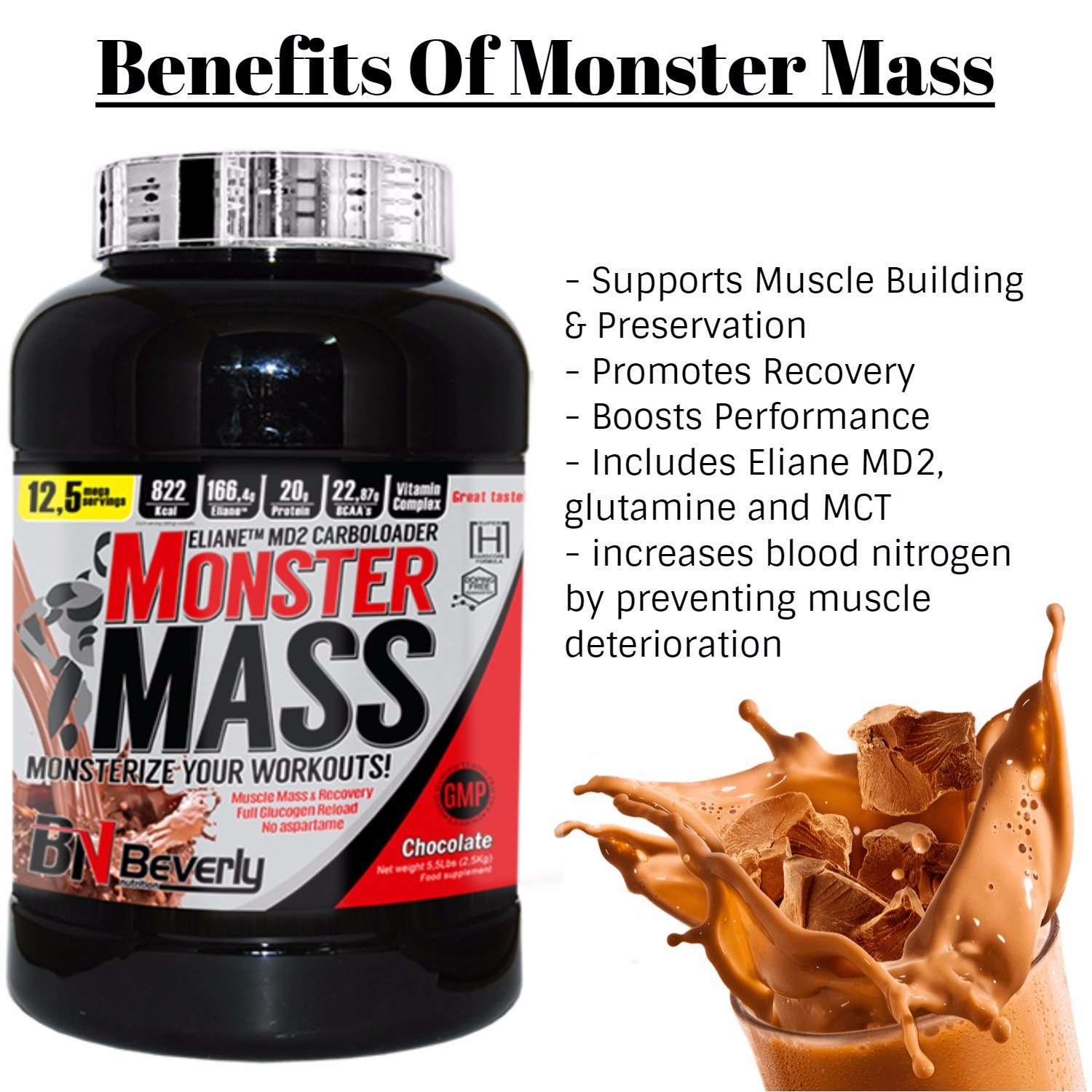 Beverly Nutrition Exclusive para Monster Mass Weight Gain Powder ...