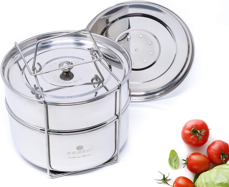 Ecozoi Premium Stackable Steamer Insert Pans Pot In Pot For Smaller Instant Pot 3, 5, 6, & 8 Quart Instant Pot Accessories - 2 Tier