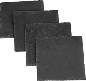 rockcloud Natural Slate Coasters Set of 4 Handmade Coasters For Drinks, Beverages, Wine Glasses Furniture Protection, Square