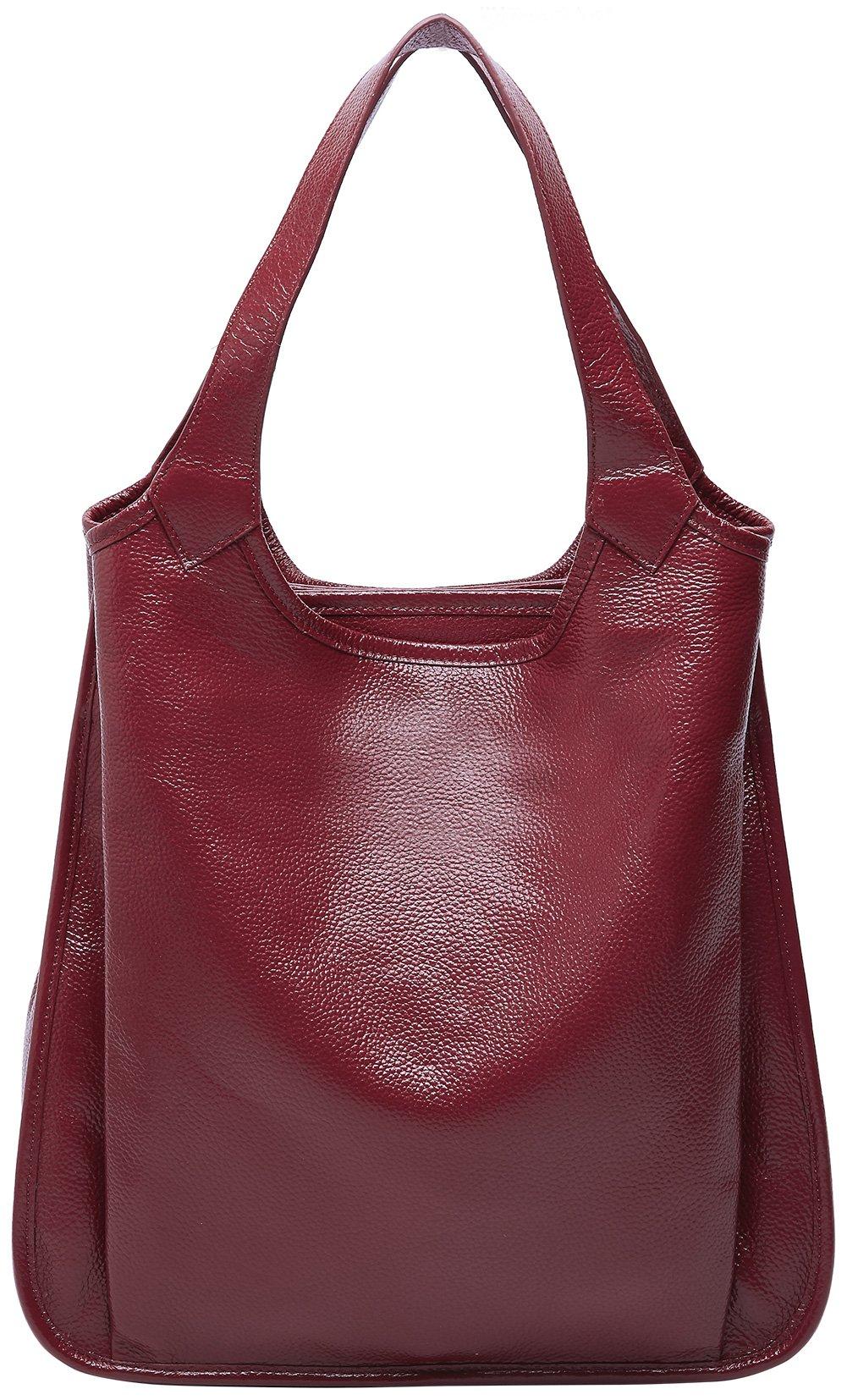 BOYATU Womens Tote Real Leather Handbag for Ladies Large Capacity Shoulder Purse (Wine Red)