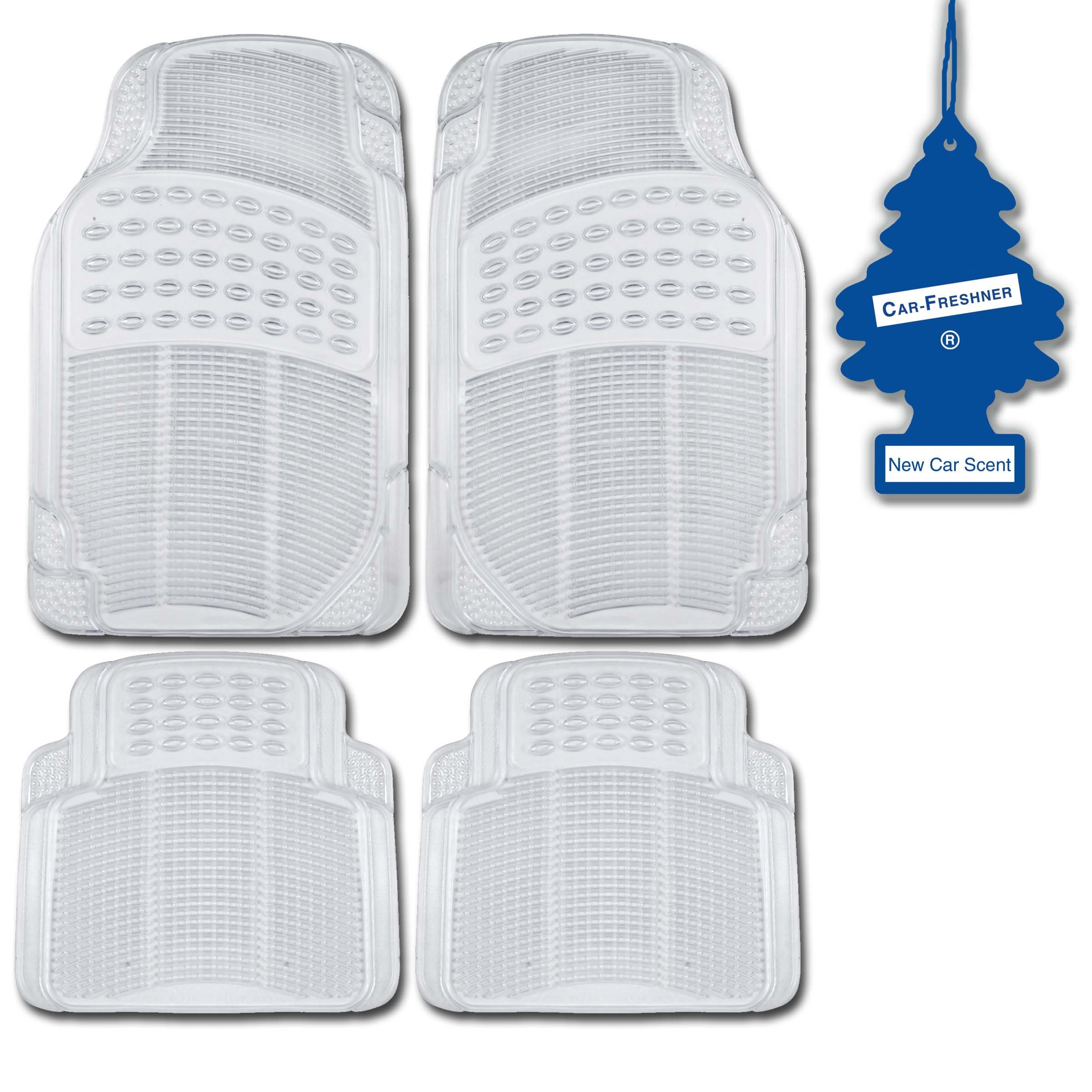 Heavy Duty Rubber Clear MotorTrend 4 Pc Car Floor Mats Set All Weather + NewCar