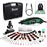 TECCPO Rotary Tool Kit 1.5 amp, 6 Variable Speed with Flex shaft, Universal Keyless Chuck, 84 Accessories, Cutting Guide…