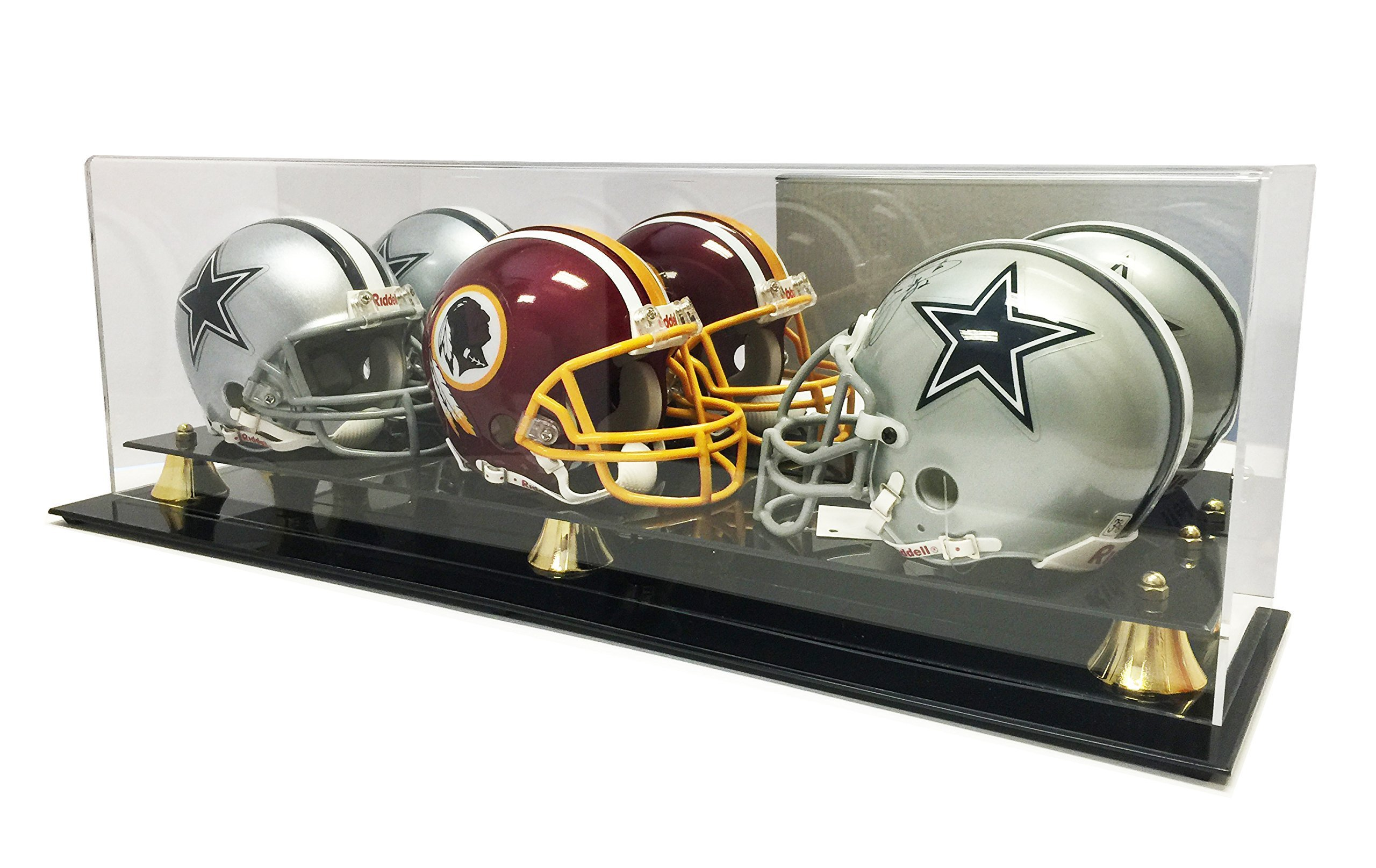 Max Protection New Triple Football Mini Helmet Display Case with Mirror Back and Black Base