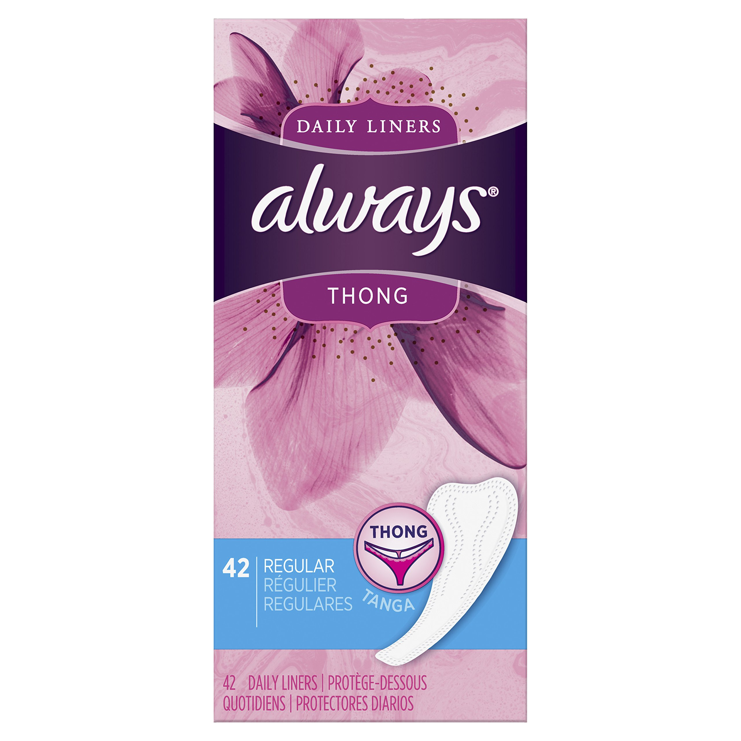 Always Dailies Thong Panty Liners for Women, 42 Count - Pack of 8 (336 Count Total)