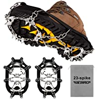 Crampons Ice Cleats Safety Traction Cleats Snow Ice Grips 23 Spikes fit Boots/Shoes for Men Women Walking Hiking