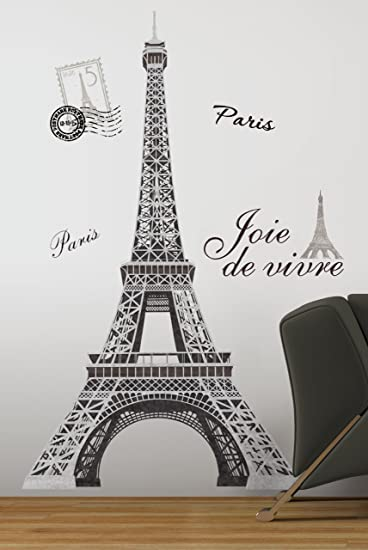 RoomMates RMKGM Eiffel Tower Peel And Stick Giant Wall Decal - Wall decals eiffel tower