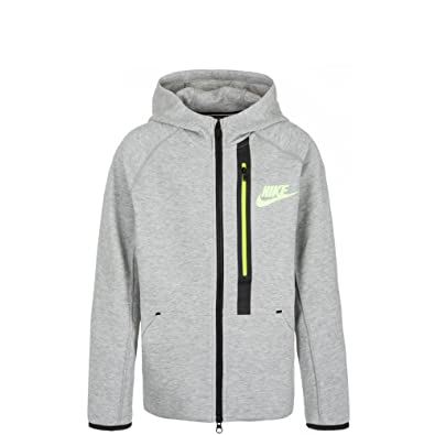 Nike Tech Fleece Full-Zip - Sudadera para niño, Color Gris/Amarillo, Talla 8: Amazon.es: Zapatos y complementos